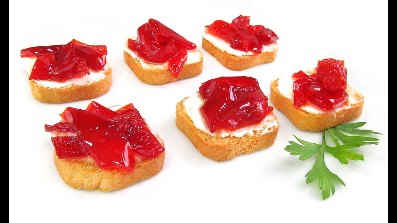 Canap s de queso y pimientos caramelizados youtube - Como hacer mermelada de pimientos ...