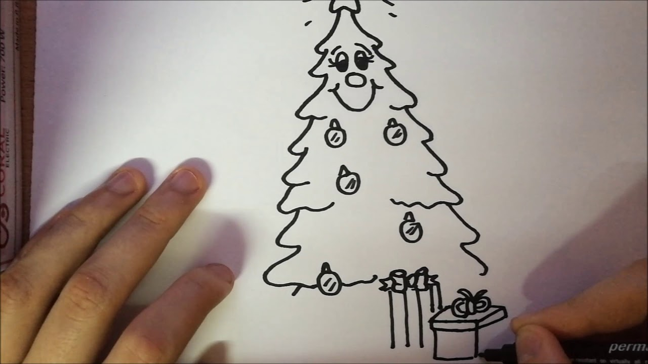 How to draw a Christmas tree with decorations and gifts - step by step - YouTube