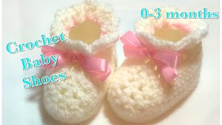 Crochet baby booties or baby shoes for 0-3 months baby fast and easy to do #104