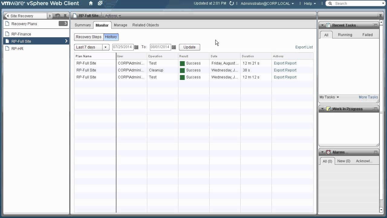 VMware vCenter Site Recovery Manager Testing and Reporting