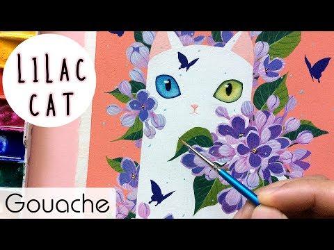 Lilac Cat // Gouache Painting // Bao Pham