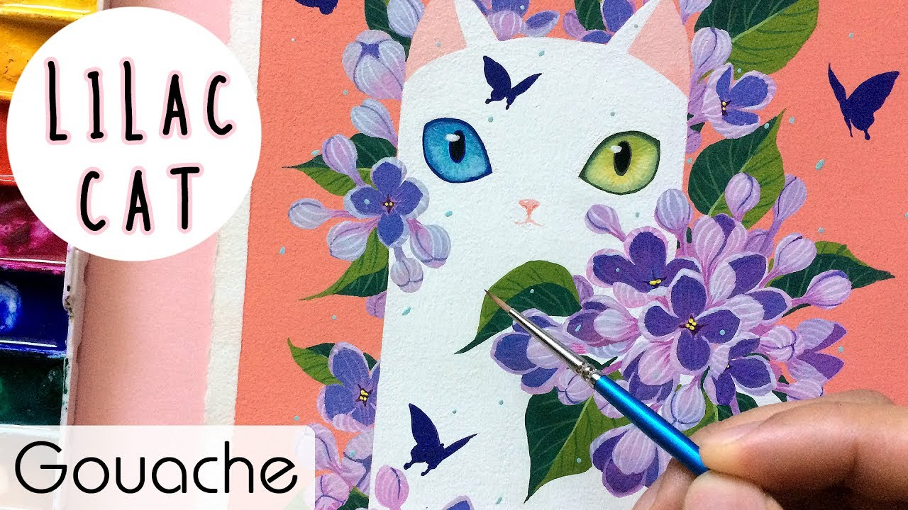 Lilac Cat Gouache Painting Bao Pham Youtube