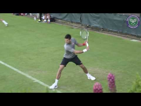 Novak Djokovic practicing before Wimbledon 2016