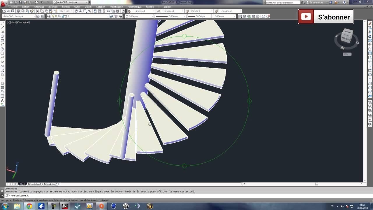 autocad 3d modelisation d 39 un escalier helicoidal colima on partie 1 youtube. Black Bedroom Furniture Sets. Home Design Ideas