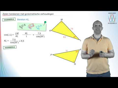 Goniometrie - zijden berekenen met SOS CAS TOA - WiskundeAcademie