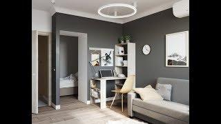 Дизайн малогабаритной квартиры, 38 кв м. в СКАНДИНАВСКОМ СТИЛЕ в серых тонах