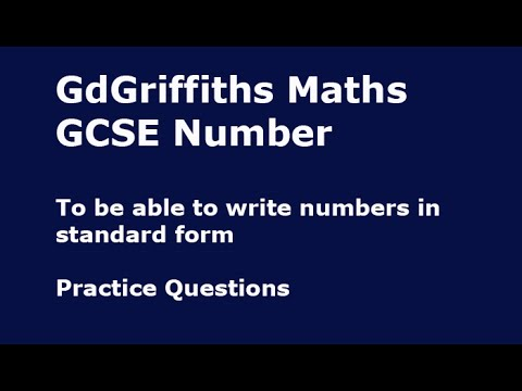 41b Gcse Number H To Be Able To Write Numbers In Standard Form
