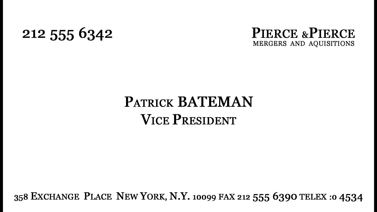 Make patrick batemans business card youtube accmission Choice Image