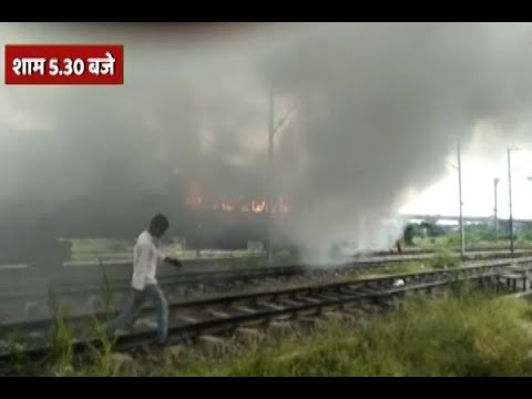 Two bogies of a train at Delhi's Anand Vihar railway station set on fire