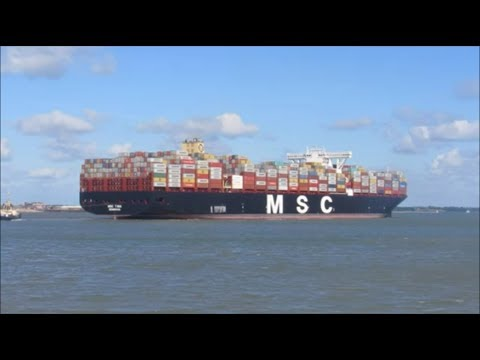 Ultra large MSC Tina arriving at felixstowe, port swing with 3 tugs. 16th June 2017
