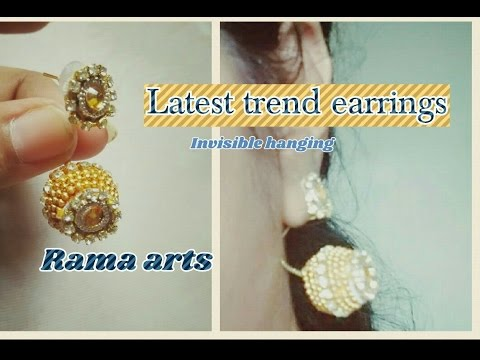 Latest trend earrings - making of invisible hanging earrings   jewellery tutorials