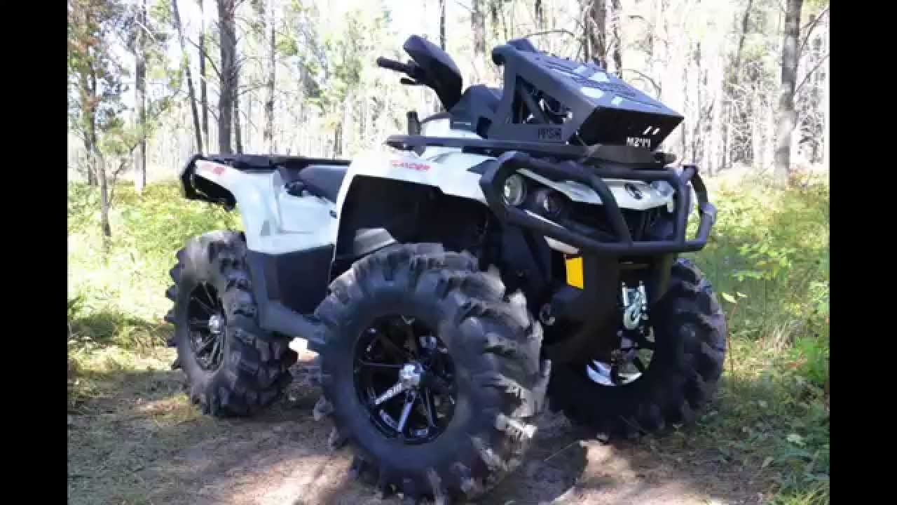 Pearl White Mud Modified Outlander 1000XT - YouTube