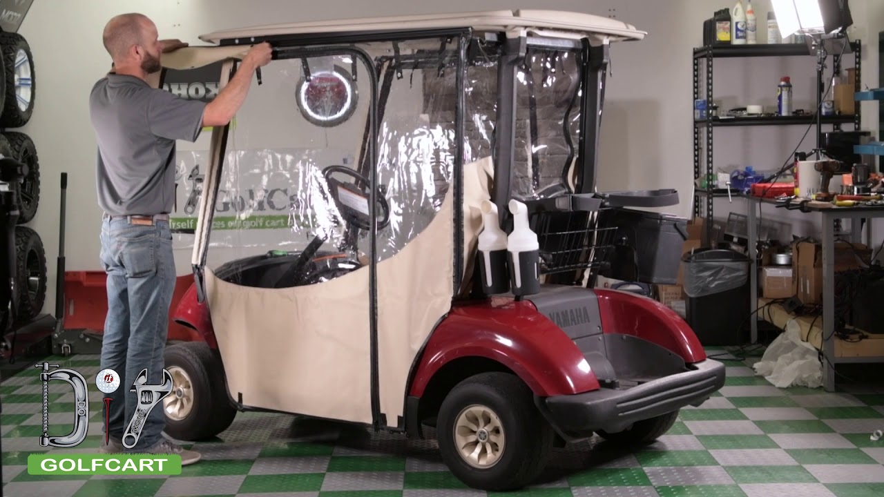Installing a Pro Touring Sunbrella Enclosure on a Yamaha G29 Drive on amazon golf cart cover, golf car covers, precedent golf cart cover, club car cover, green line golf bag cover, turf club cart rain cover, golf cart cover green line, golf cart rain cover, golf bag rain cover, golf cart shade cover,