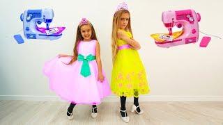 Las Ratitas hacen vestidos de princesas con la maquina de coser de juguete gisele y claudia