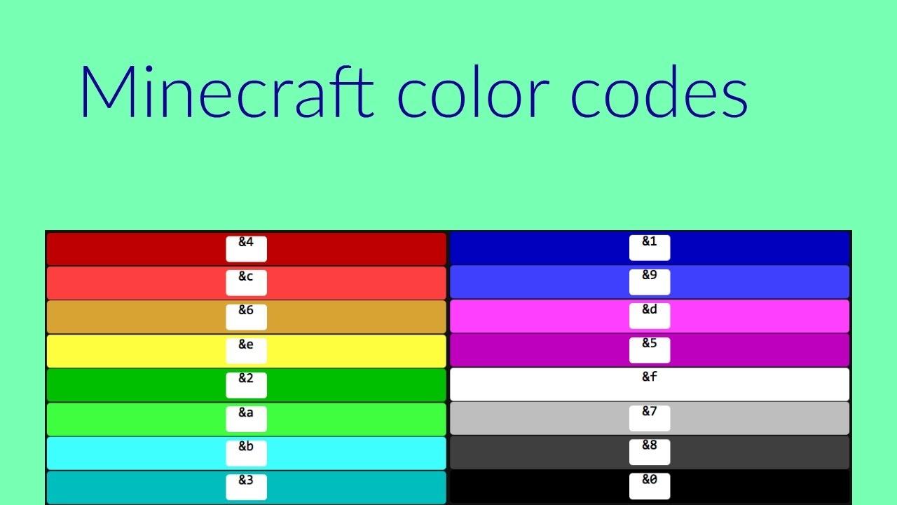 Все цветовые коды майнкрафт