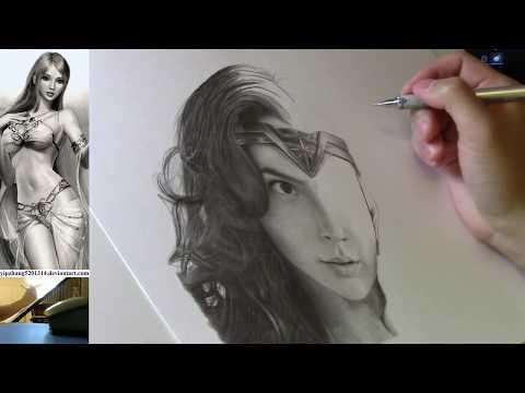 Live Stream - Wonder Woman (Gal Gadot) Portrait Pencil Drawing Part 8