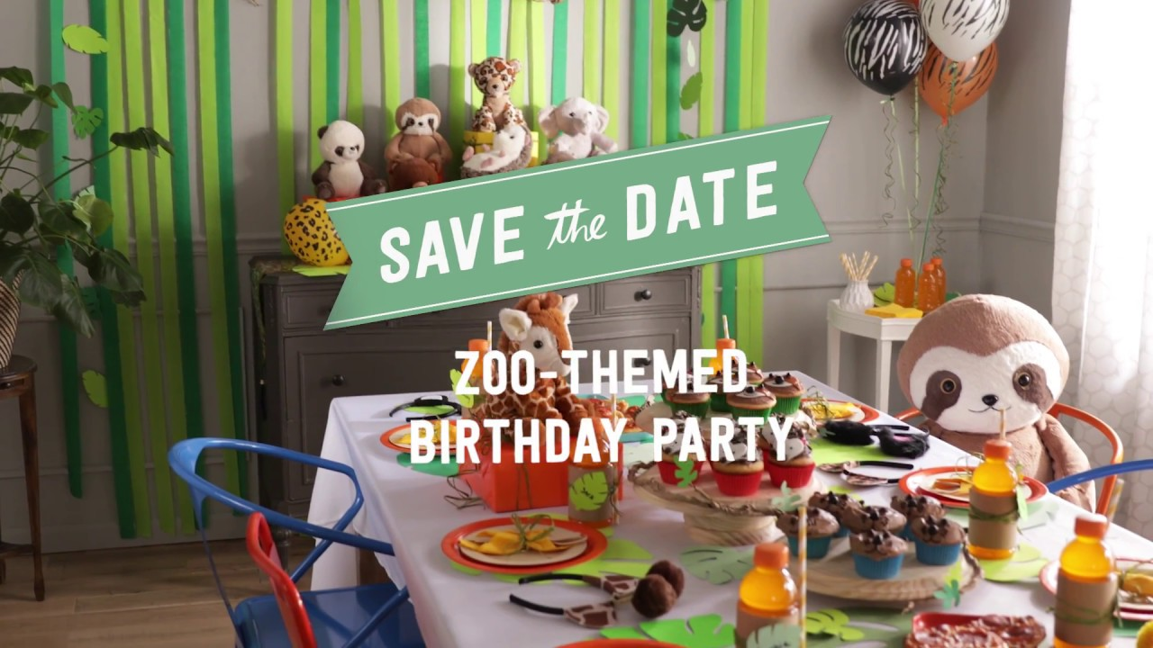 Zoo Themed Birthday Party Save the Date YouTube