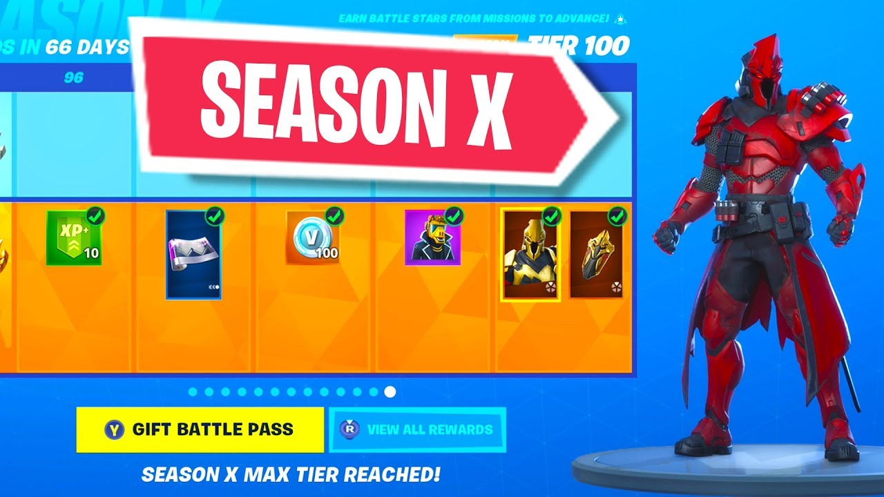 New Season X Battle Pass In Fortnite 100 Unlocked