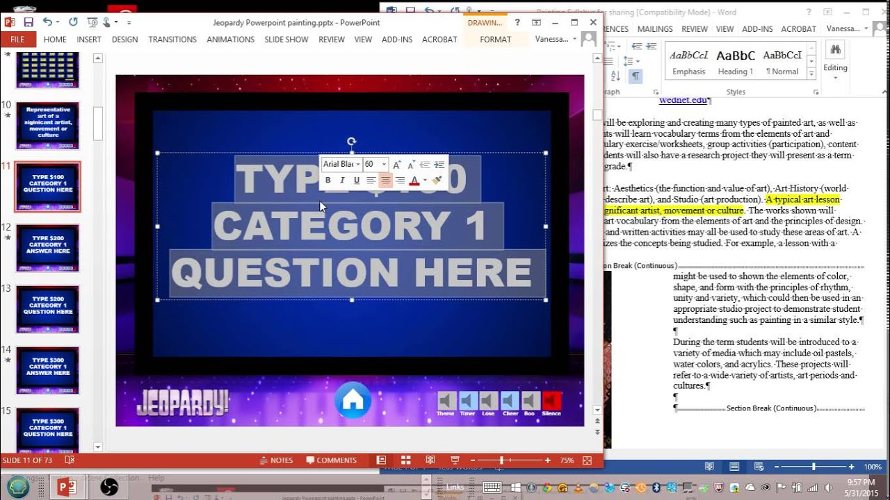 jeopardy game ppt template
