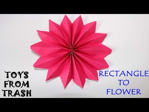 Rectangle To Flower Kannada Fun With Paper Youtube