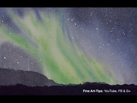 How to Paint an Aurora Borealis - Northern Lights - In Watercolor