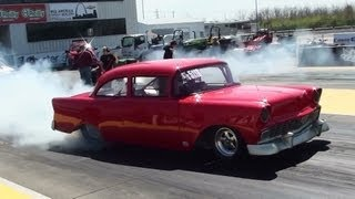 10 Second 1956 Chevy - Burnout and Quarter Mile