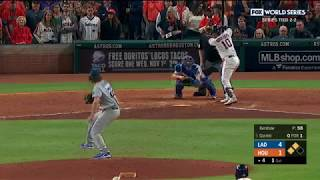 Yuli Gurriel HOME RUN MOON SHOT off Kershaw to Tie 4-4 in World Series Game 5