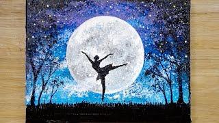 Técnica de pintura de aluminio / Cómo dibujar a una bailarina a la luz de la luna