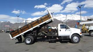 SOLD! Flatbed Dump Truck Ford F750 XL 18' Bed 230 H.P. Cat 3126 6 Cylinder Diesel, 6 Spd