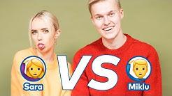 Miklu & Sara Karoliina: Kumpi on mustasukkaisempi? | Emojibattle 🙋 vs  🙋♂️