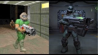 Doom (2016) vs Doom (93-94) Weapons Comparison - With 3rd Person Doom Guy Holding the Guns