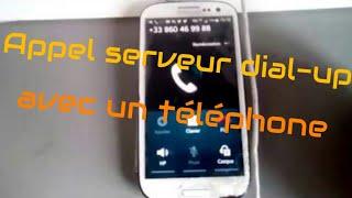 Test d'appel d'un serveur dial-up avec un téléphone (bruits aigus inside)