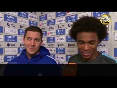 Азар отдал Виллиану приз лучшему игроку матча с «Хаддерсфилдом»