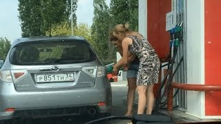 Two women at the gas station!