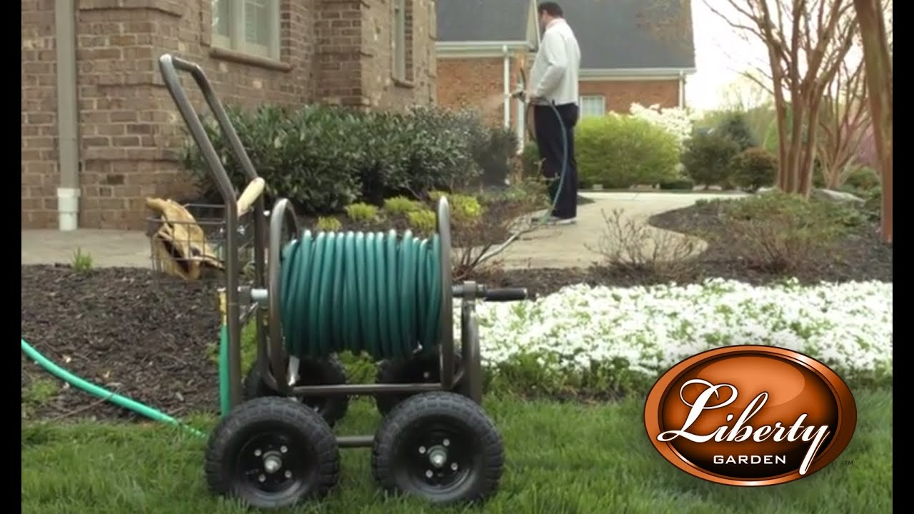 liberty garden model 871 four wheel hose reel cart youtube - Garden Hose Reel Cart