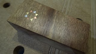 An attempt of inlaying copper, brass and aluminum in walnut (metal inlay)