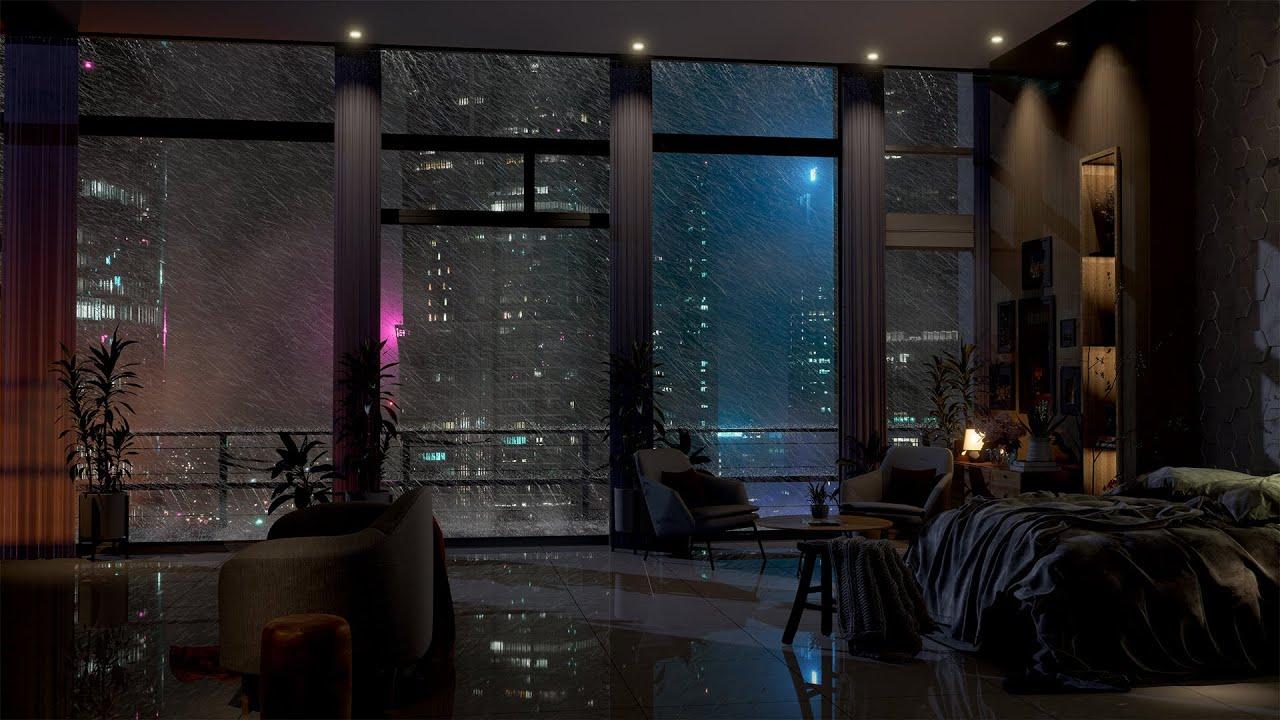 Download An Amazing Luxury Hotel In Shanghai | Heavy Wind & Rain Sounds | Rain On Window | 4K | 8 Hrs