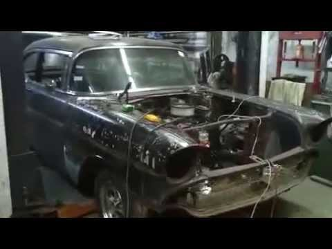 57 chevy, checking out  progress of kenny hicks belair rat rod project.