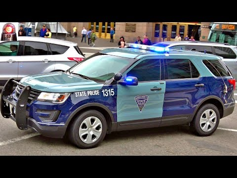 Massachusetts State Police Ford Interceptor Responding Lights and Sirens