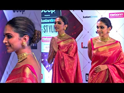 Deepika Padukone Hot In Pink Silk Saree At HT Most Stylish Awards 2018