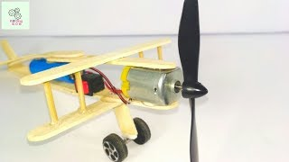 How to Make A Plane With DC Motor - Toy Plane With Popsicle Stick DIY