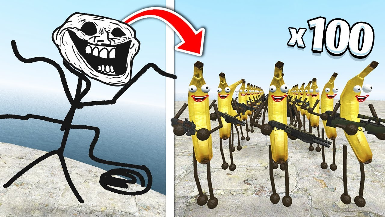 Download Can 100 BANANAS defeat... TROLLGE?! (Garry's Mod)