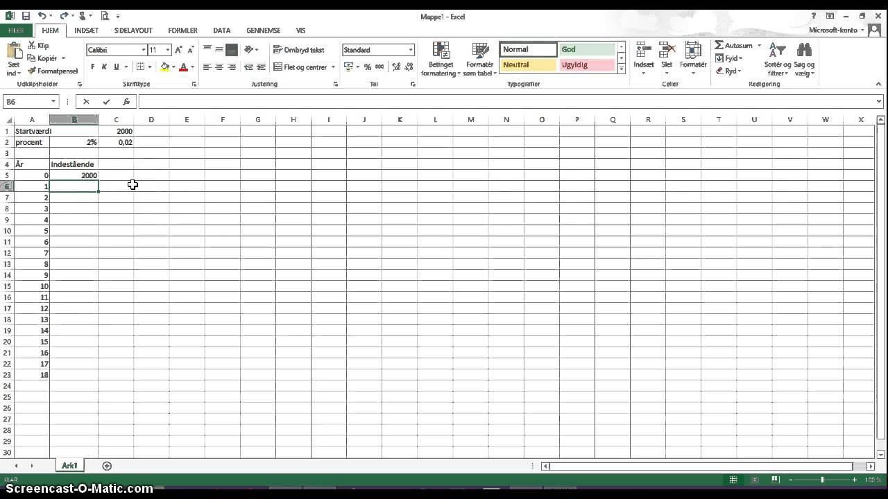 Vækst og procentvis stigning i Excel