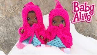 Baby Alive Twin Dolls See Snow for the First Time -- Collab with Aloha Baby Alive