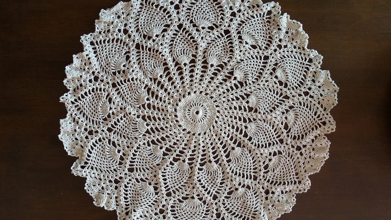 Crochet Doily - Rounded Pineapples Doily Part 5 - YouTube