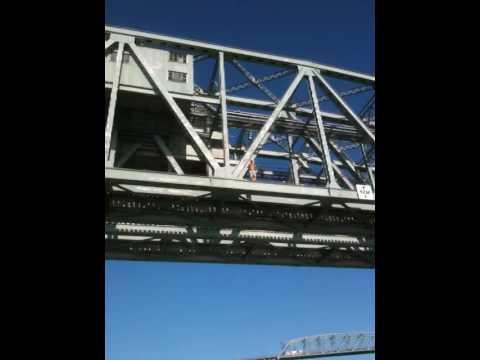 Dube jumping off the train bridge in Kahnawake