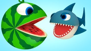Watermelon Pacman around river meets a Shark-PACMAN rolling on city find see big candy surprise toys