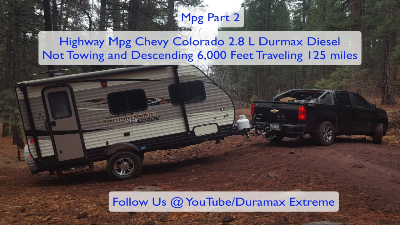 (Part 2 ) Best MPG! Chevy Colorado 2 8 L Duramax MPG HWY non-towing , 125  mile descent of 6,000 ft