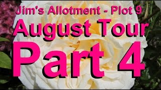 Jim's Allotment - Plot 9 - August Tour Part 4 - Chickens, Greenhouse Tour and Stringing Onions