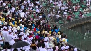 7月13日 春日球場 柳川高校vs大牟田高校 伝統校柳川の得点テーマを撮影.